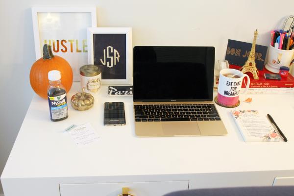 gold macbook computer, eat cake for breakfast kate spade mug, hustle gold foil print, monogram print etsy, pumpkin candle, eiffel tower