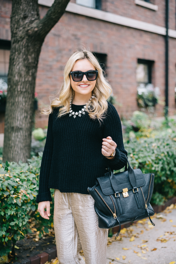 holiday-outfit-black-sweater-gold-pants