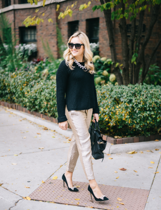 holiday-party-outfit-work-appropriate-gold-pants-black-sweater-black-bow-pumps