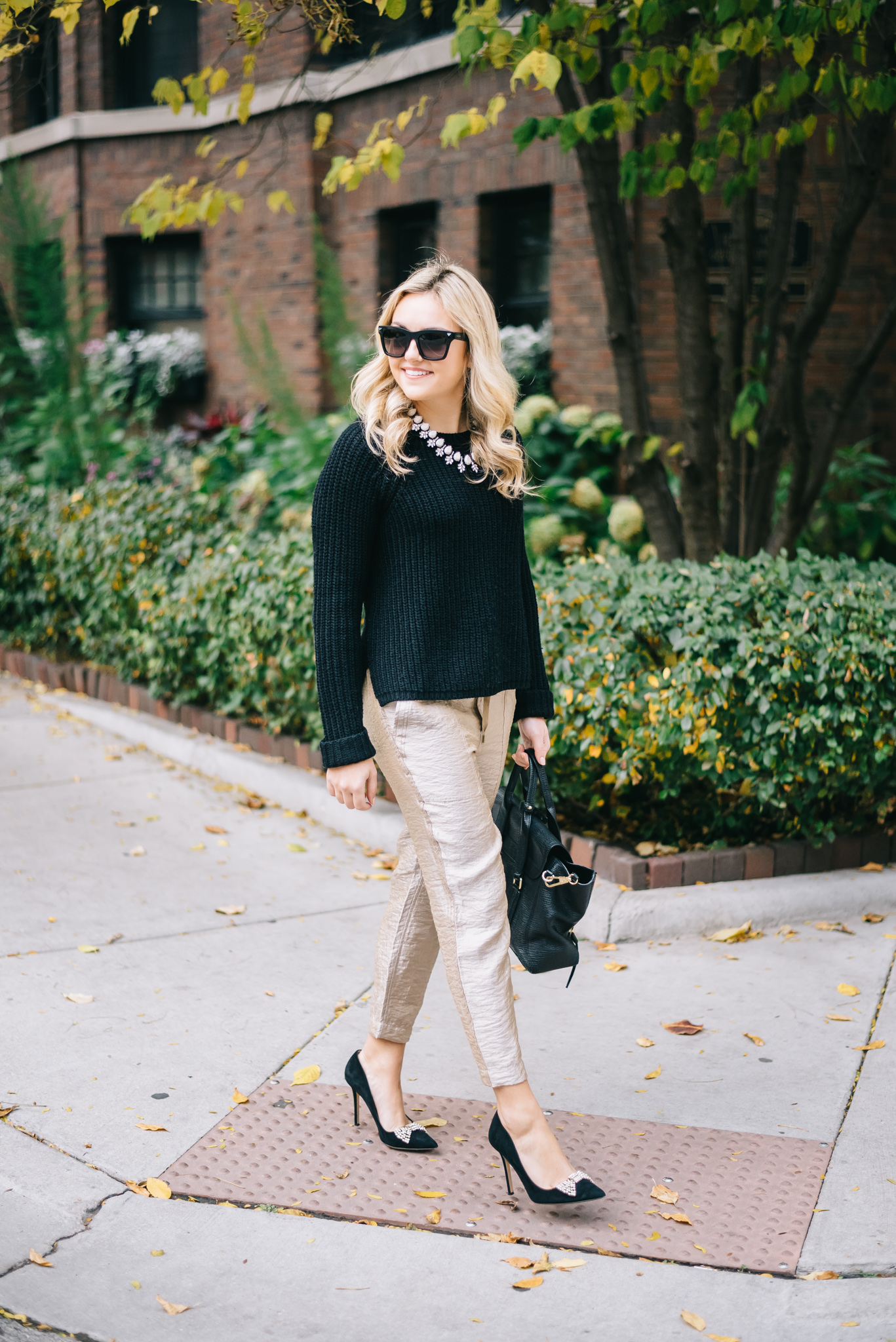holiday party outfit work appropriate gold pants black sweater holiday party outfit work appropriate gold pants black sweater black bow pumps