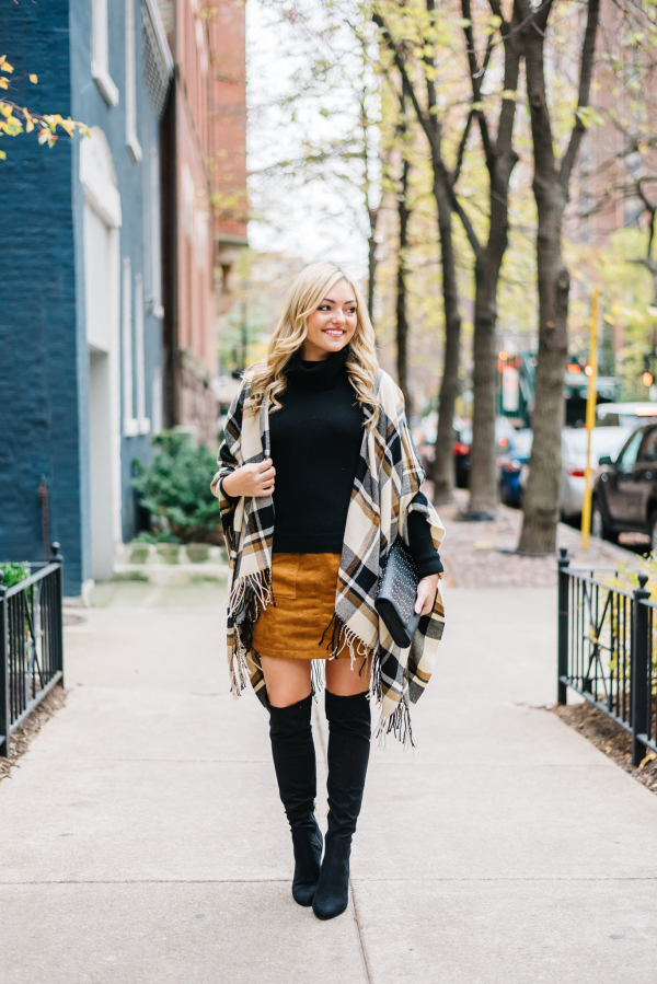 over the knee boots with a skirt outfit