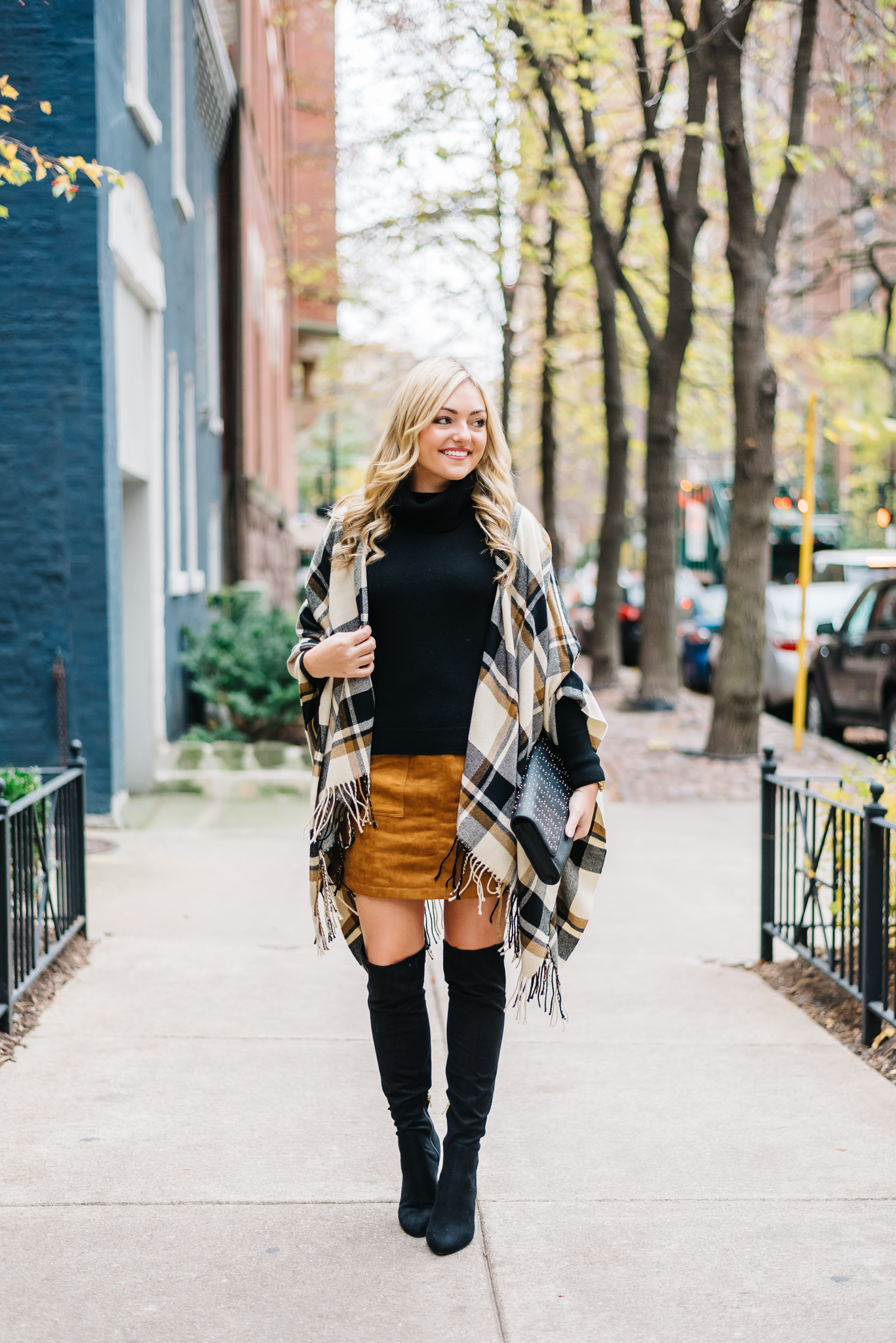over the knee boots with a skirt outfit — bows & sequins