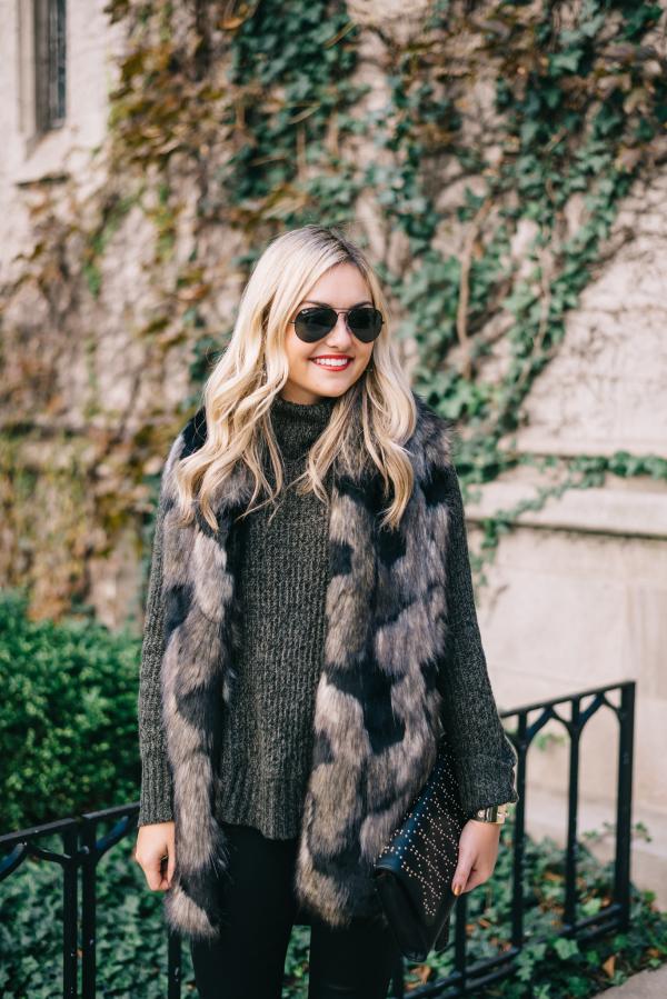 patchwork faux fur stole