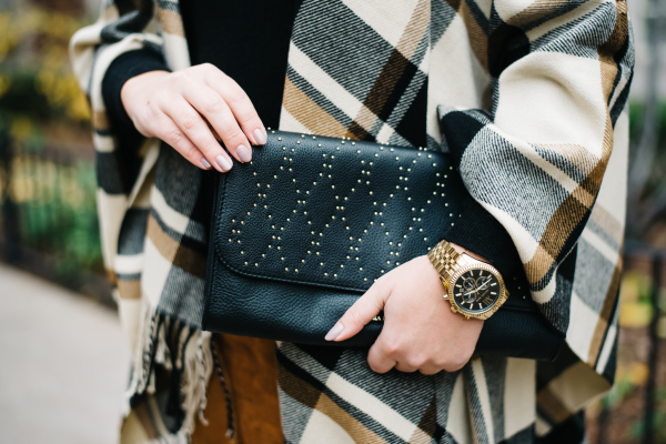 plaid blanket scarf, black and gold stud clutch