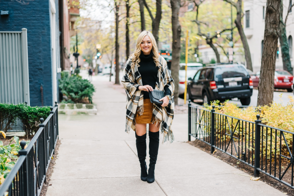 plaid blanket scarf over the knee boots