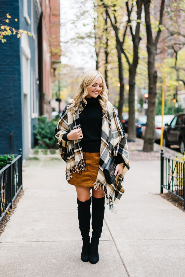 plaid cape, suede skirt, over the knee boots