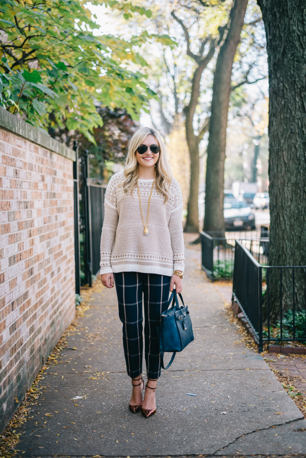 print-mixing-fall-outfit-fairisle-sweater-windowpane-striped-pants-jcrew-pumps-kate-spade-bag