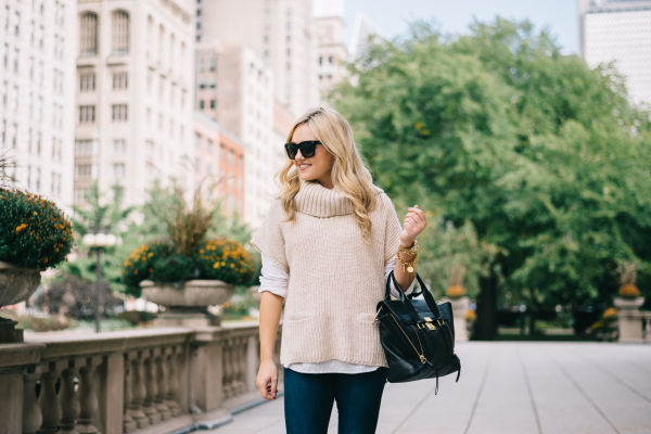 short-sleeve-cowl-neck-sweater-outfit