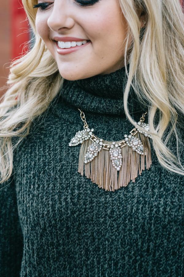 statement necklace gold fringe