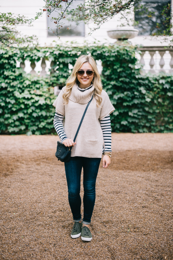 weekend-outfit-sweater-striped-turtleneck-jeans-sneakers