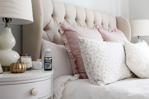 white blush pink ruffled bedding