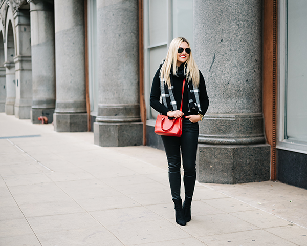 all black outfit with pop of red