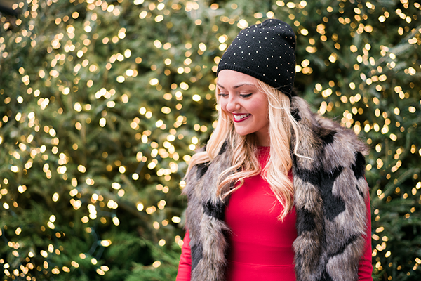 black and gold beanie faux fur red holiday dress
