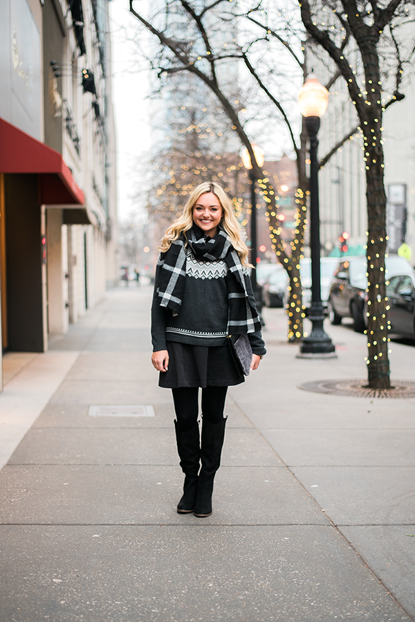 black and grey holiday outfit