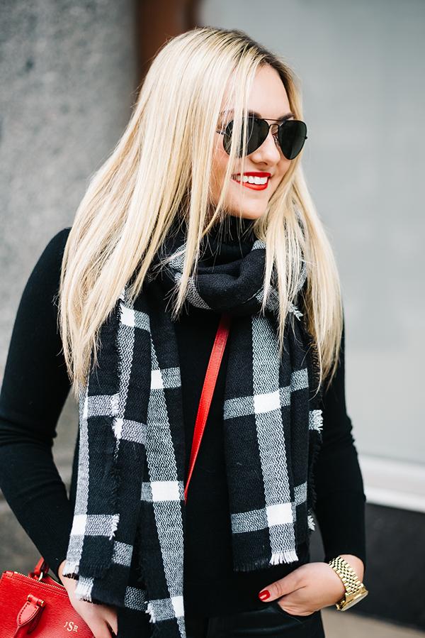 black and white windowpane plaid blanket scarf