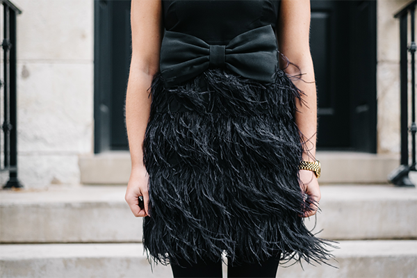 black feather skirt dress bow belt