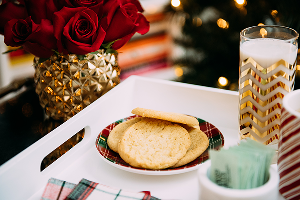 christmas cookies and milk by the tree