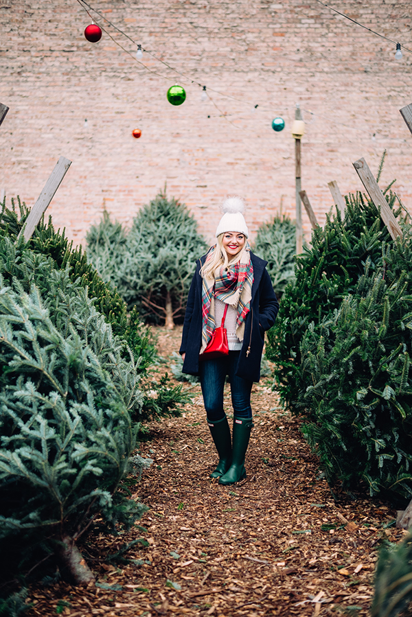christmas tree farm cute outfit blanket scarf hunter boots