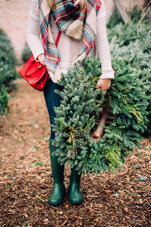 christmas tree farm plaid scarf hunter boots