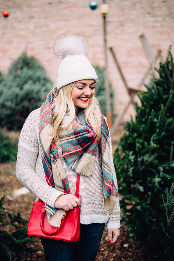 fur pom pom beanie plaid blanket scarf christmas tree farm outfit