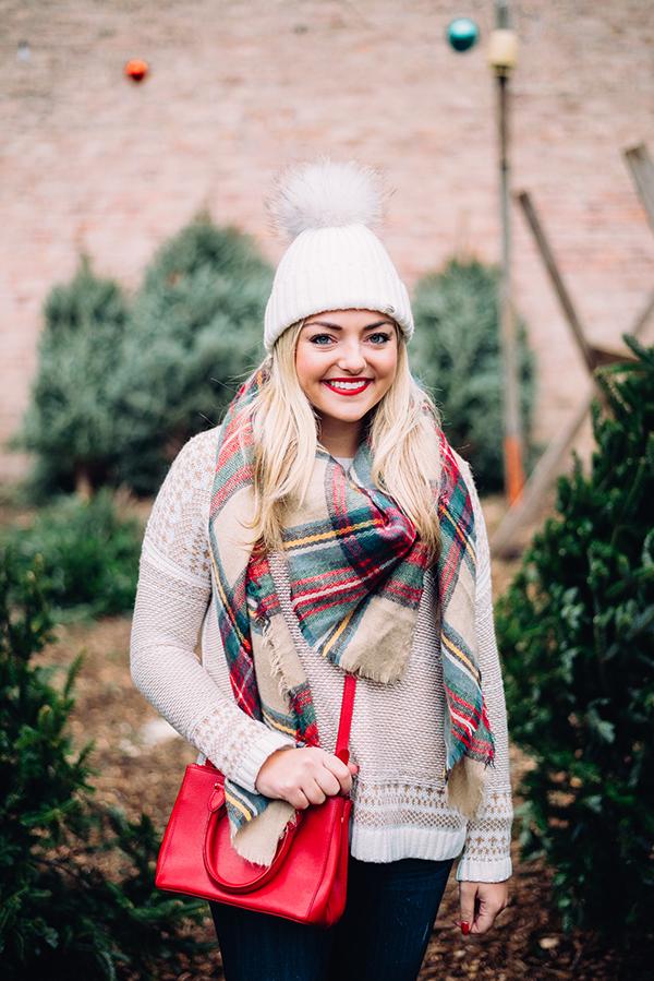 fur pom pom beanie plaid blanket scarf fair isle sweater
