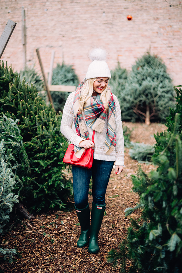 green hunter boots holiday outfit christmas tree farm plaid scarf