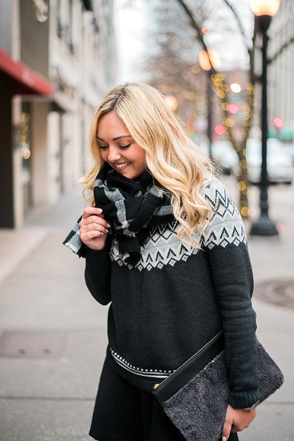 grey white fair isle sweater — bows & sequins