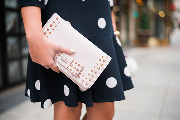 kate spade pink bow clutch