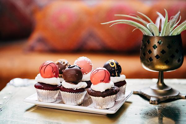 mini cupcakes with godiva chocolate truffle on top