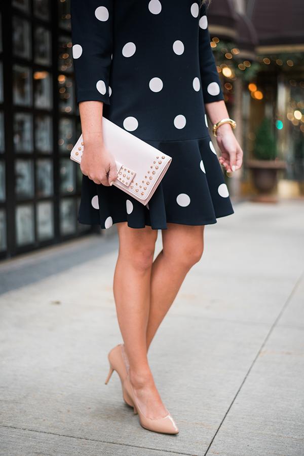 navy dot dress