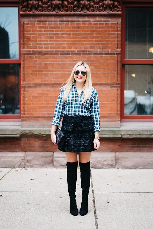 plaid shirt tweed skirt