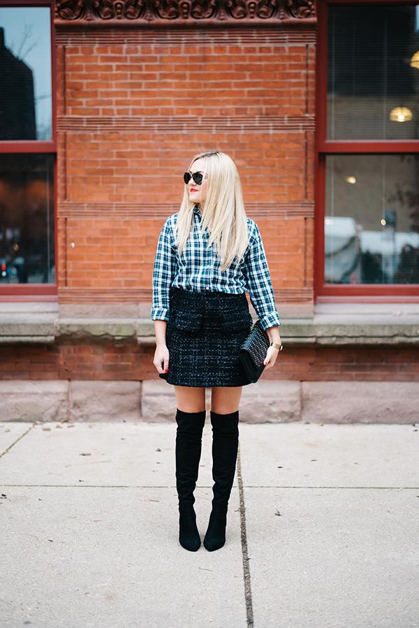 plaid shirt tweed skirt nye outfit