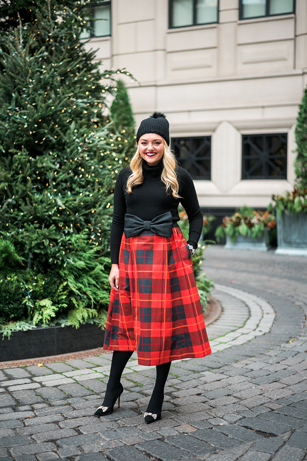 plaid skirt holiday outfit