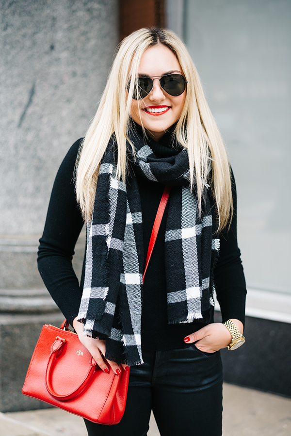 red black and white casual outfit