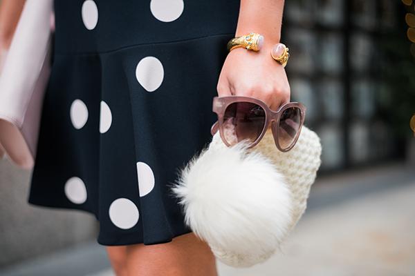 white fur pom pom beanie pink sunglasses