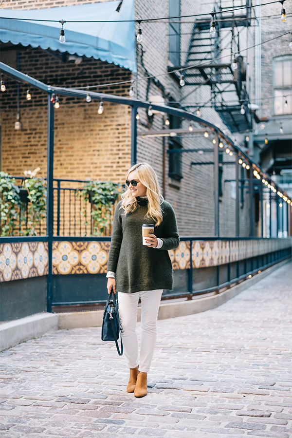 white jeans corduroys fall winter outfit