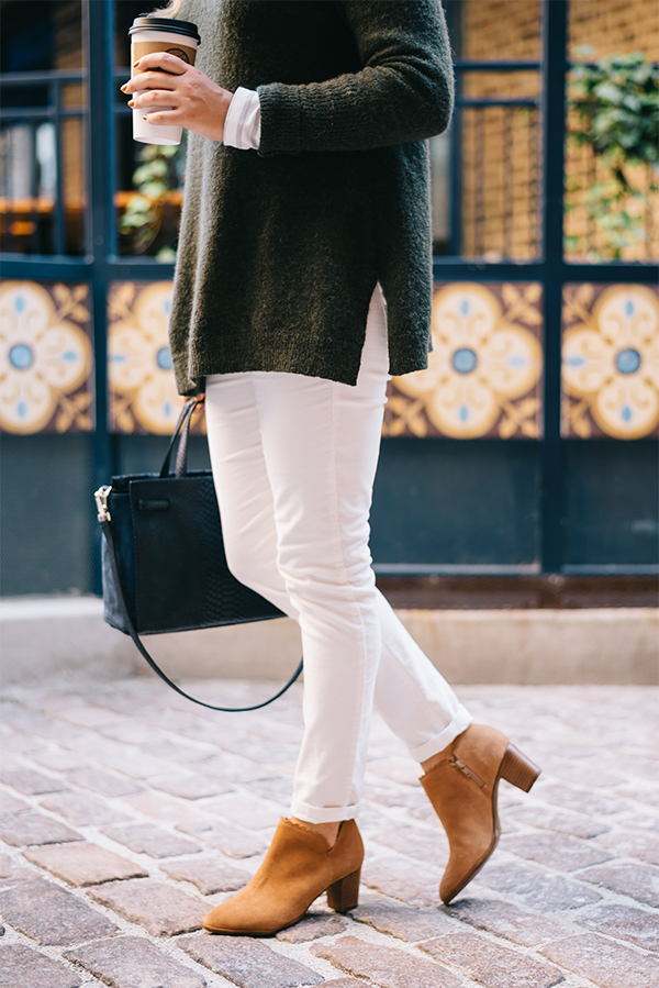 white pants fall winter outfit