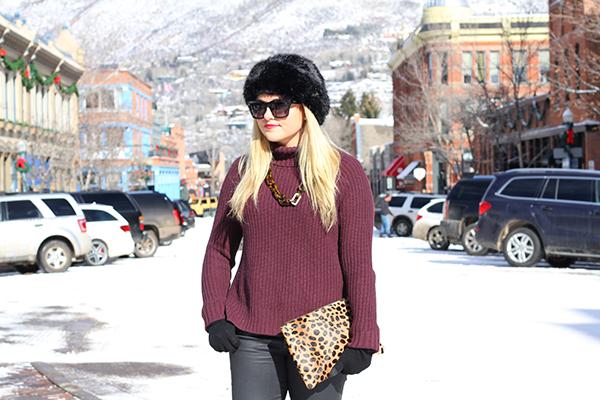 black faux fur hat leopard clutch clare v