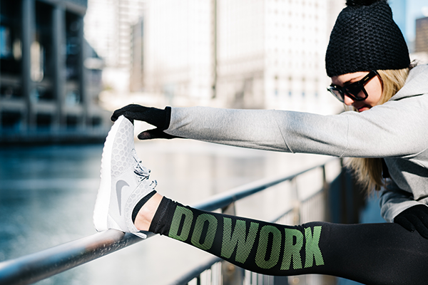 Bows & Sequins wearing Black Do Work Exercise Leggings in Chicago