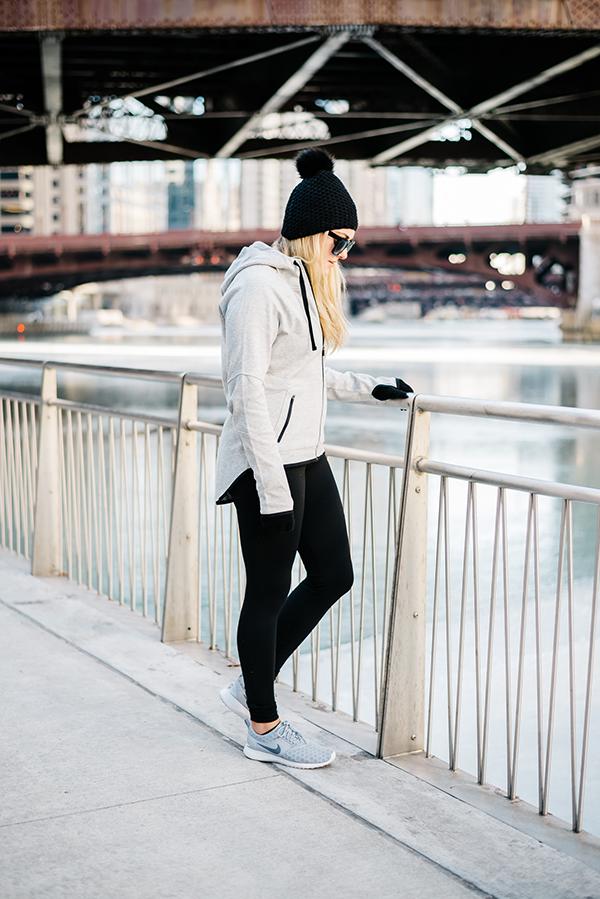 grey high-low zip-up hoodie fitness