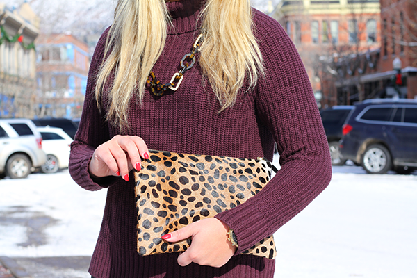 maroon oxblood burgundy turtleneck sweater leopard clutch tortoise link necklace