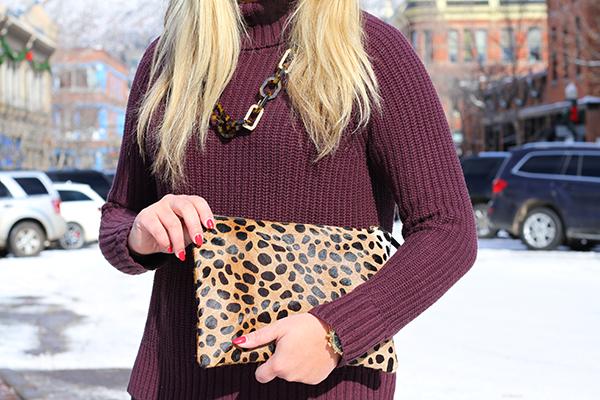 maroon oxblood burgundy turtleneck sweater leopard clutch tortoise link necklace