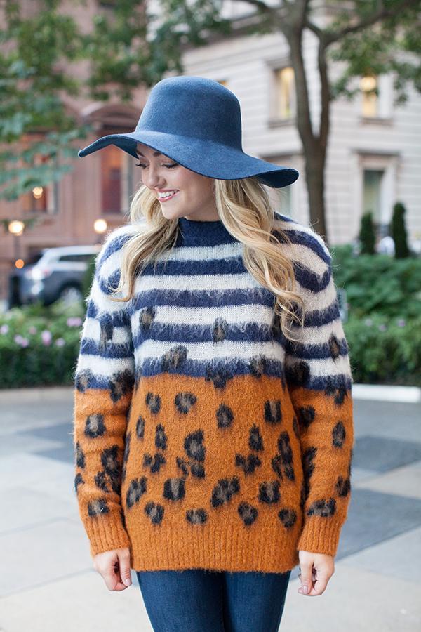sandro striped leopard oversized sweater