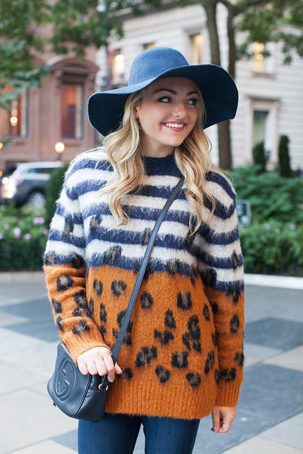 sandro sweater stripes leopard