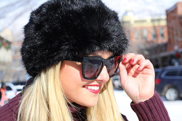 ted baker fur hat valentino rockstud sunglasses