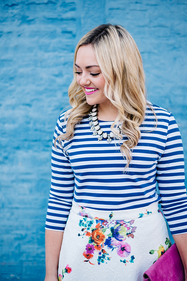blue and white striped shirt