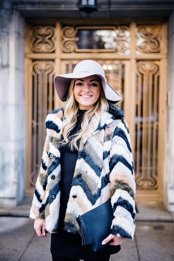 chevron faux fur jacket