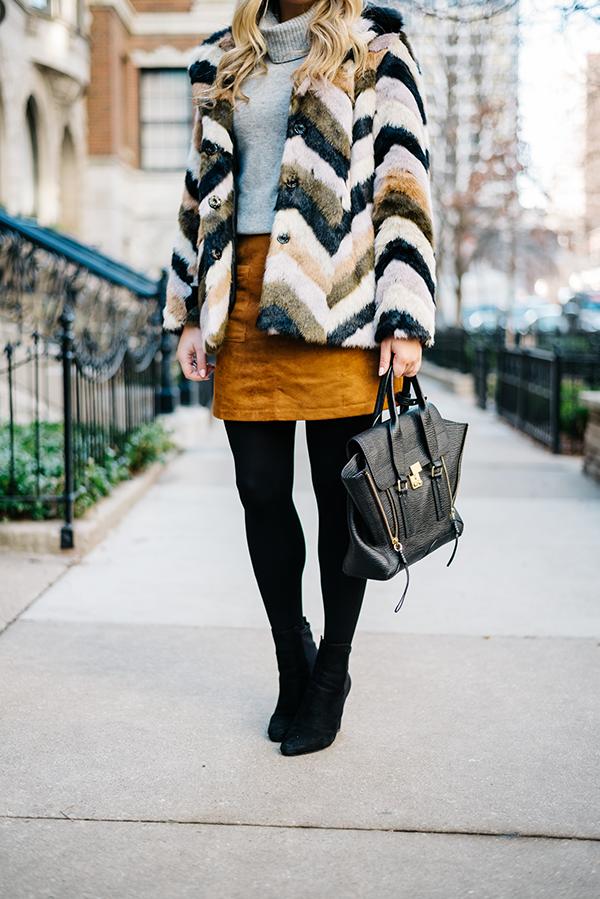 90f349b6f5 chevron faux fur jacket, grey turtleneck, seude skirt, black tights, black  booties