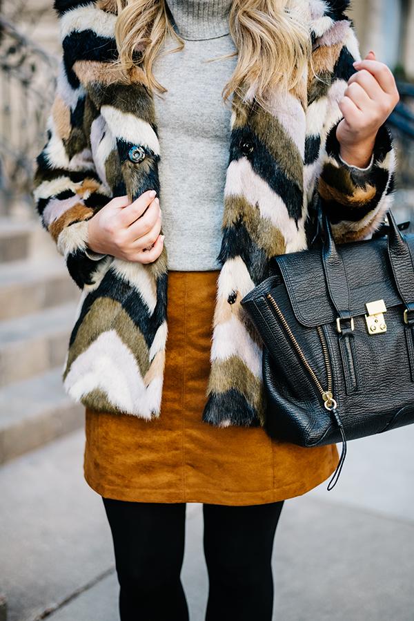 chevron faux fur jacket suede skirt
