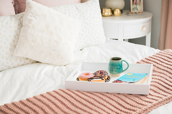coffee and donuts in bed